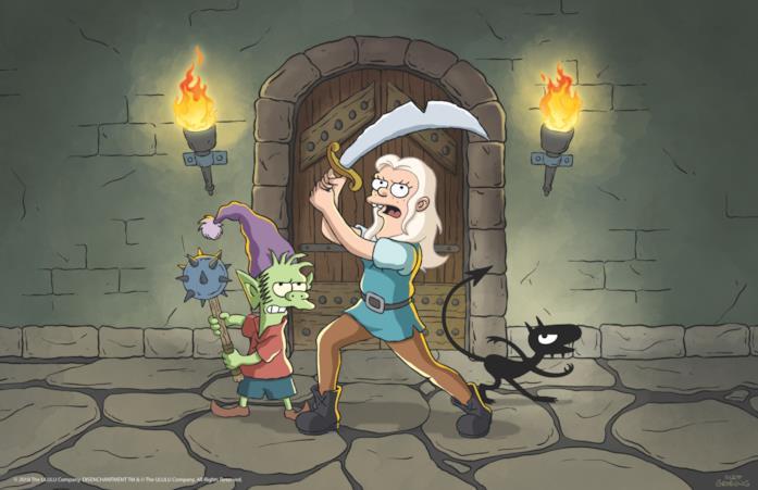 Bean con la sua spada e gli amici Elfo e Luci