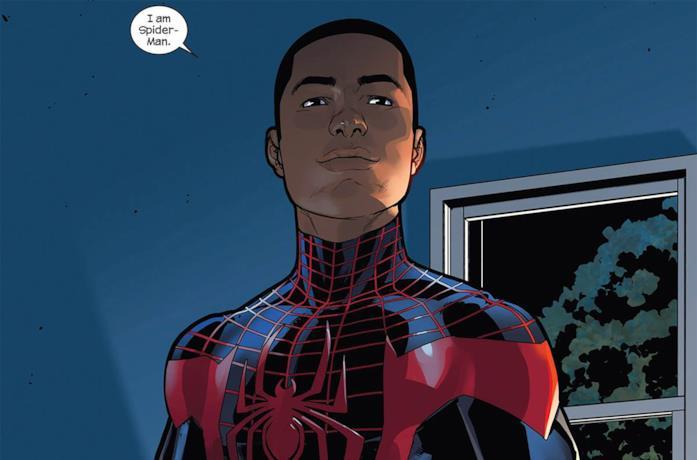 Primo piano di Miles Morales (Spider-Man) in una tavola Marvel Comics