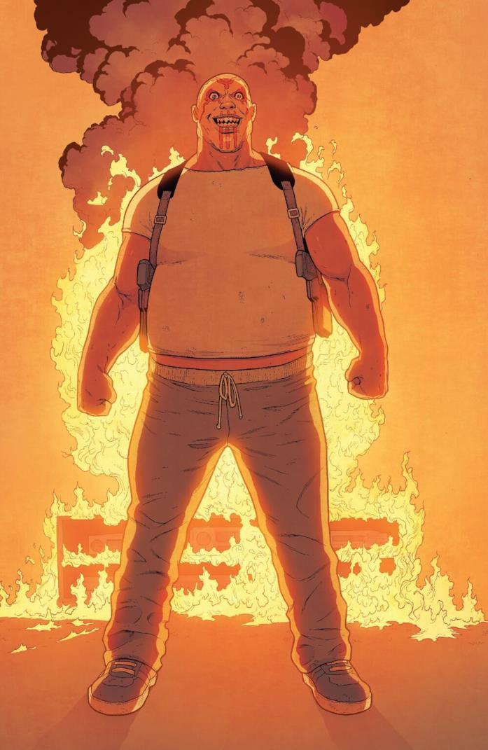 Il villain Bushman con alle spalle un palazzo in fiamme