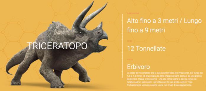 La scheda del Triceratopo