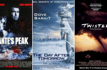 Le locandine dei film Dante's Peak, The Day After Tomorrow e Twister