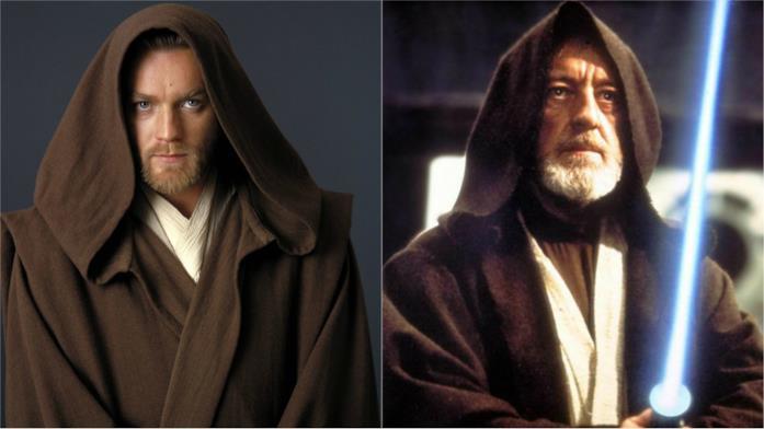 Ewan McGregor e Alec Guinness nel ruolo di Obi-Wan Kenobi