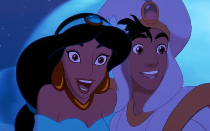 Un mezzo primo piano di Jasmine e Aladdin, i due protagonisti del film d'animazione Aladdin