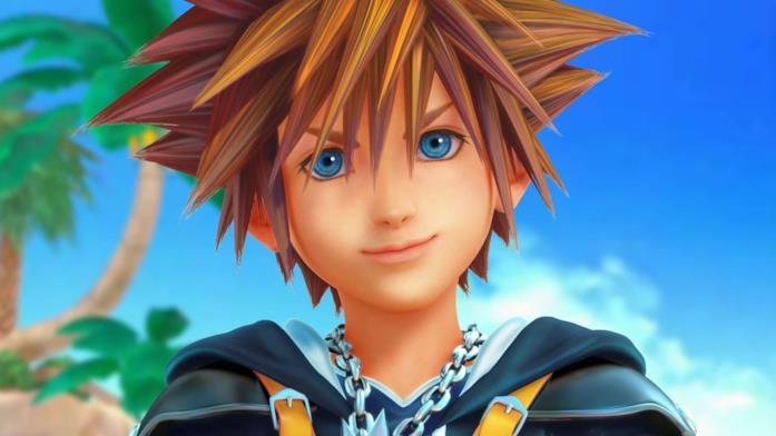 Un primo piano di Sora in Kingdom Hearts 3