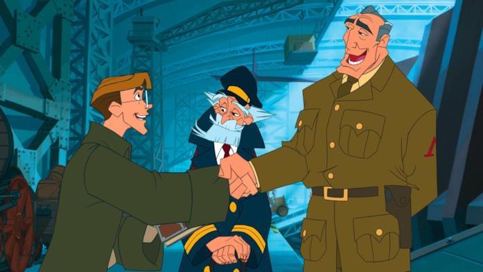 Il comandante Rourke dà il benvenuto a Milo prima della partenza