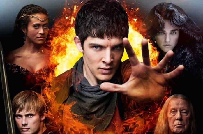 Immagine promozionale di Merlin con il cast al completo