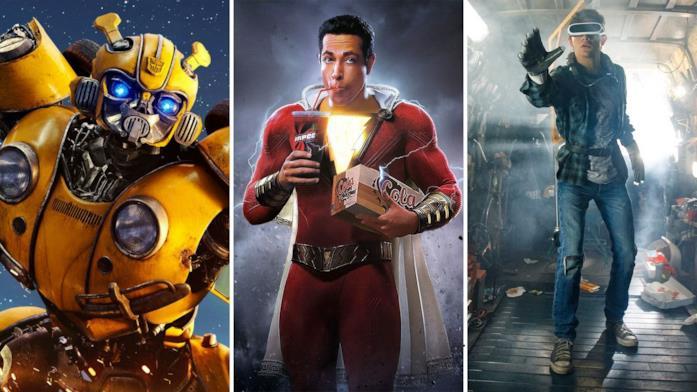 Da sinistra a destra le immagini dei film Bumblebee, Shazam! e Ready Player One