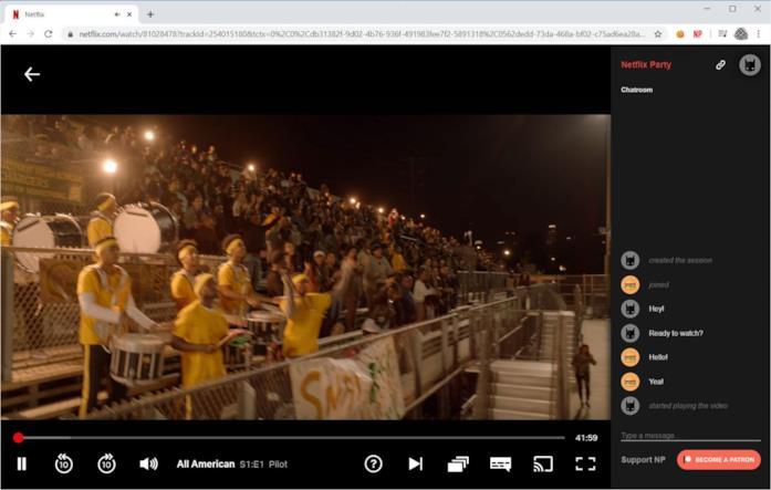 Schermata di funzionamento di Netflix Party
