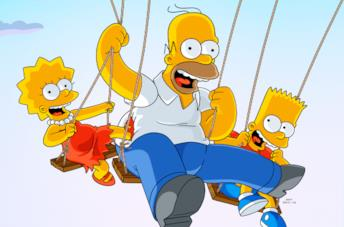 Da sinistra Lisa, Homer e Bart de I Simpson