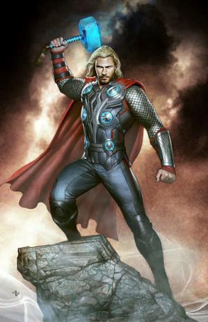 Un disegno a colori di Thor, che ha i capelli lunghi e la barba come in The Avengers