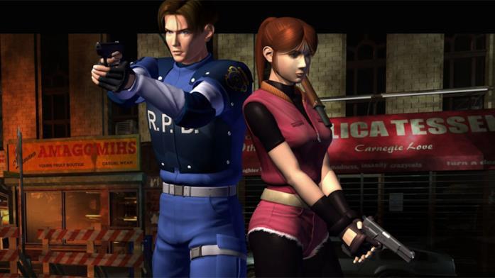 Leon e Claire posano in un artwork dell'originale Resident Evil 2