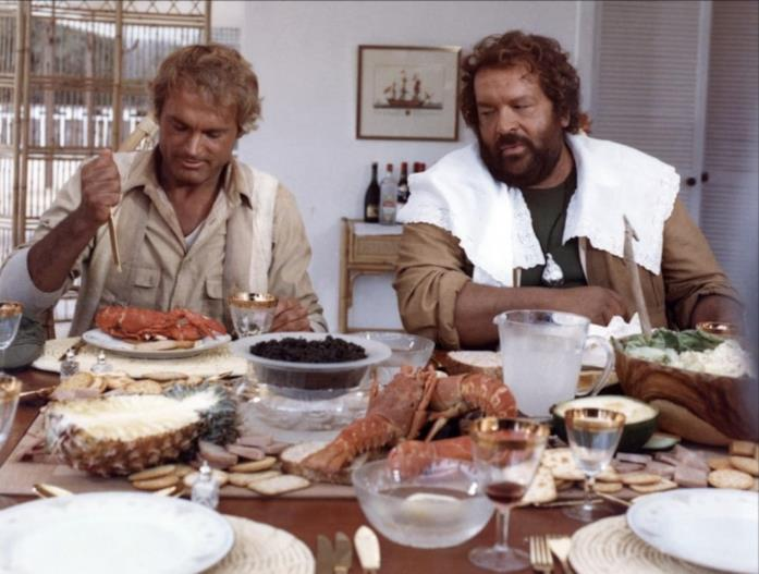 Terence Hill e Bud Spencer in una scena del film Io sto con gli ippopotami