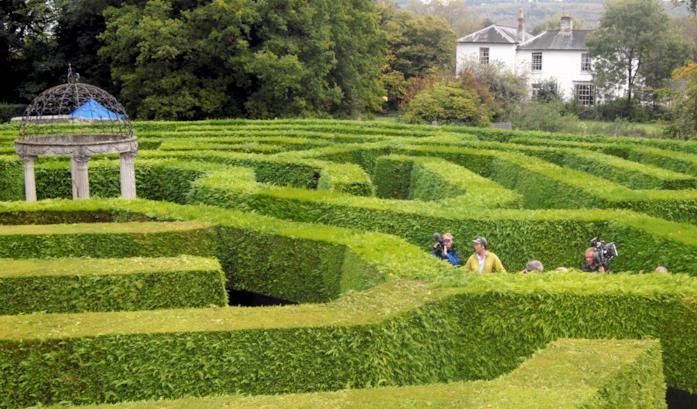 La crew di Merlin nel labirinto The Amazing Hedge Puzzle