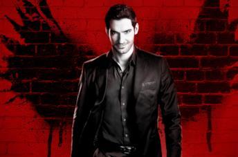 Lucifer su sfondo rosso