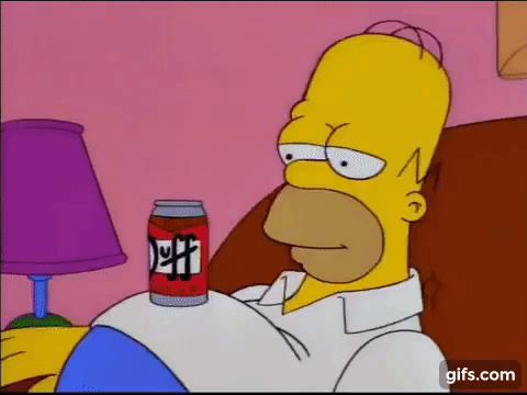 Homer Simpson con l'ennesima lattina di birra