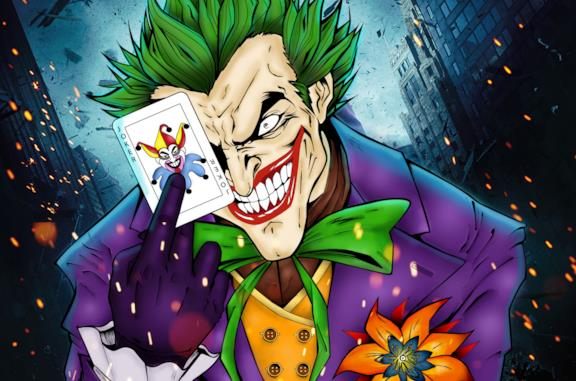 Joker con una carta in mano