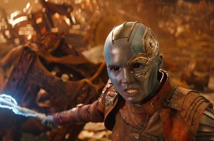 Karen Gillan in una scena del film Avengers: Infinity War