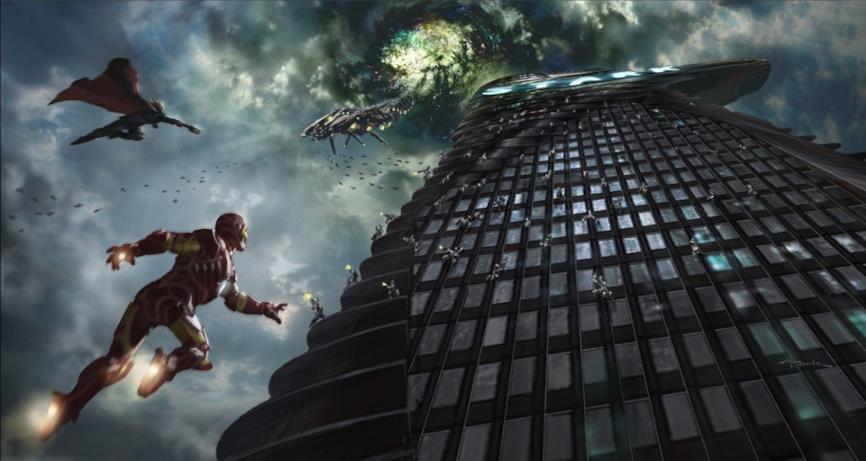 La Stark Tower vista dal basso
