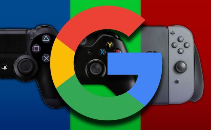 Il logo di Google con i pad per PlayStation 4, Xbox One e Nintendo Switch