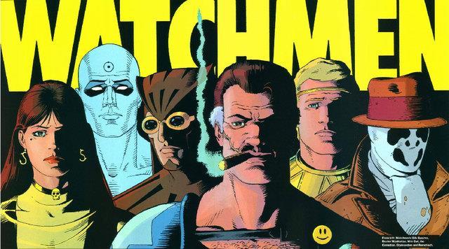 Mezzibusti disegnati dei protagonisti di Watchmen, con il logo sulle loro teste