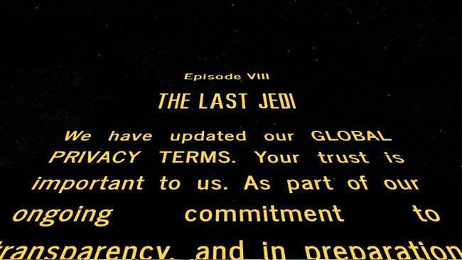 Opening Crawl di Star Wars con Privacy Policy