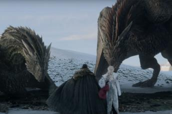 un'immagine dei tre draghi di Daenerys in Game of Thrones
