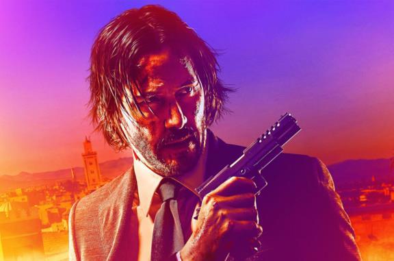 Un'immagine di Keanu Reeves nel poster di John Wick 3: Parabellum