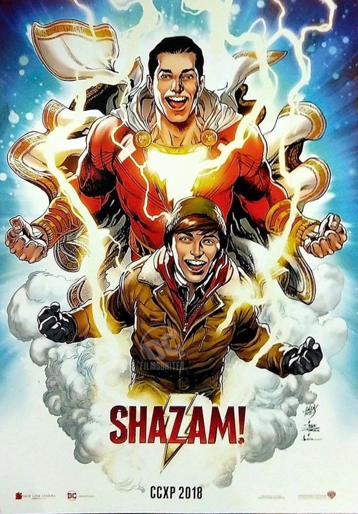 Locandina di Shazam!, il film con il supereroe bambino protagonista