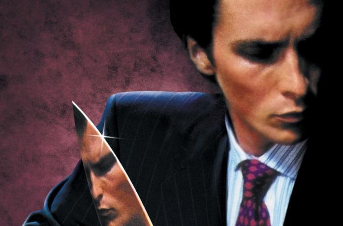 Primo piano di Christian Bale nella locandina di American Psycho