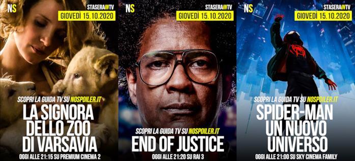 I film stasera in TV - giovedì 15 ottobre 2020