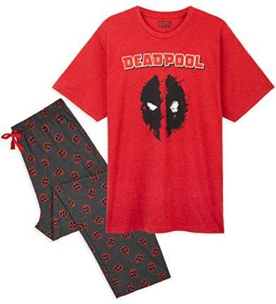 Marvel Pigiama Uomo, Pigiami Due Pezzi con Magliette Deadpool E Pantaloni in Cotone, M-L-XL-2XL, Abbigliamento Ufficiale Avengers, Idee Regalo Uomo (XL, Rosso)