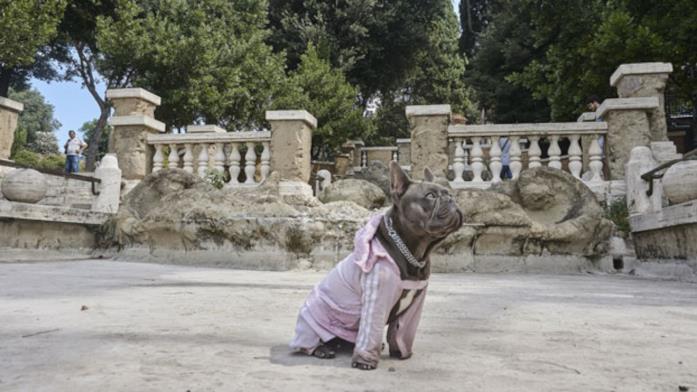 Ugo vestito della sua buffa tutina rosa pastello