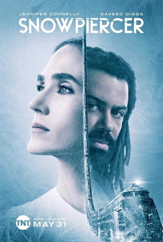 I due protagonisti della serie TV di Snowpiercer separati dal treno i corsa