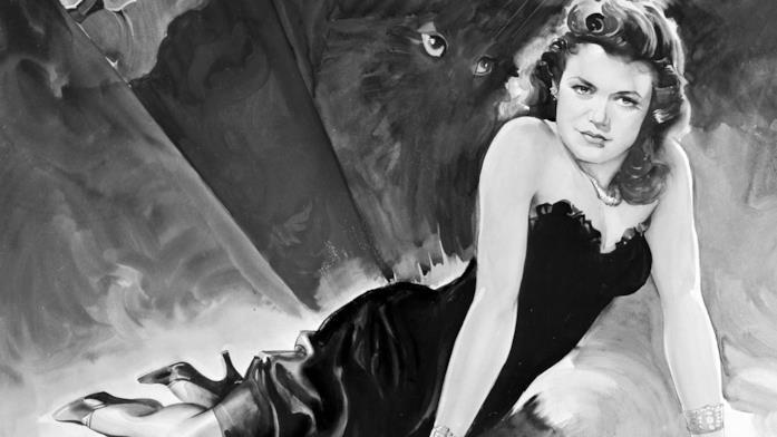 Immagine promozionale de Il bacio della pantera in cui Simone Simon in abito nero è sovrastata da una pantera sullo sfondo