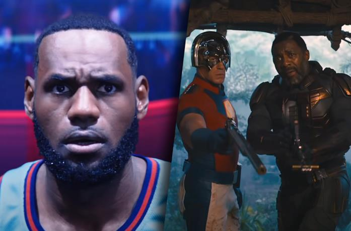 A sinistra LeBron James in Space Jam 2, a destra una scena di The Suicide Squad