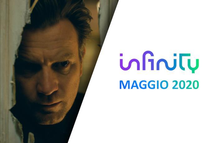 Ewan McGregor in una scena di Doctor Sleep (sinistra) e il logo di Infinity (destra)