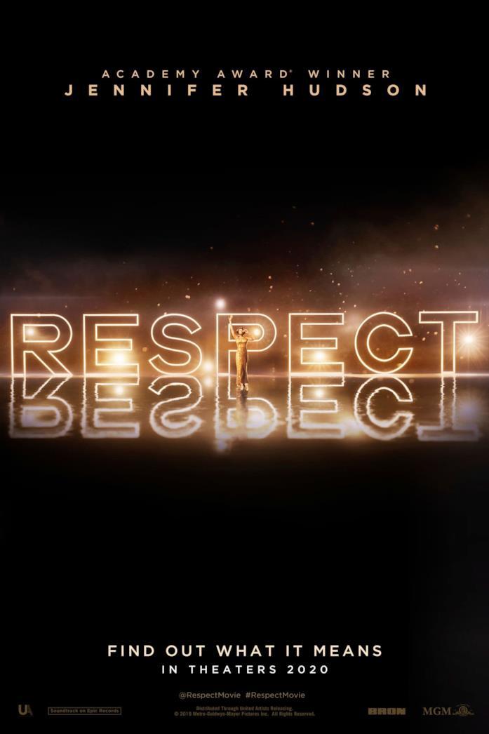 La scritta Respect illuminata sul poster del film
