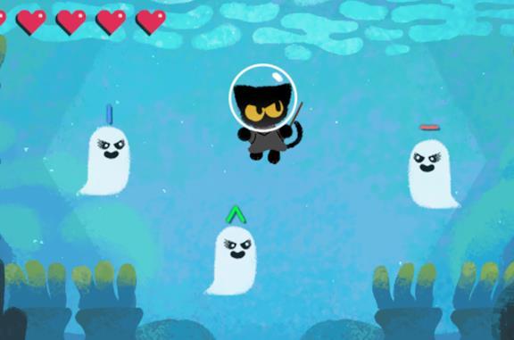 Un gatto sfida tre fantasmi nel doodle di Google per Halloween 2020