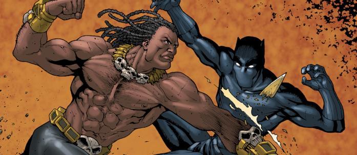 Killmonger sfida Black Panther in una illustrazione per un albo Marvel
