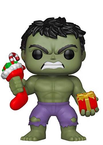 Funko- Pop: Marvel: Holiday Hulk con Stocking & Peluche (Bobblehead), Multicolore, 33984