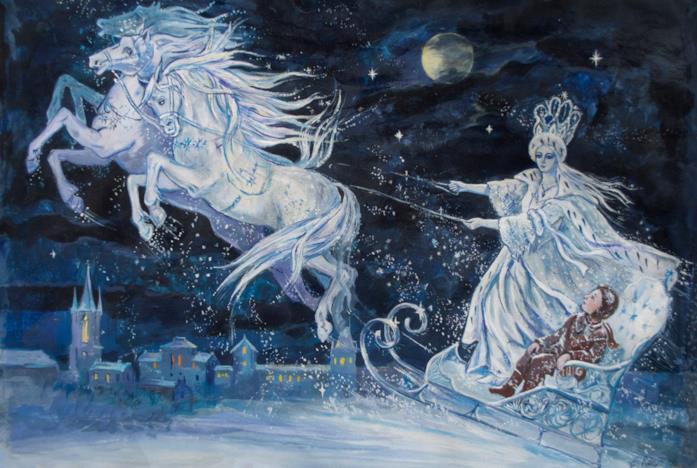 La Regina delle Nevi sulla slitta volante