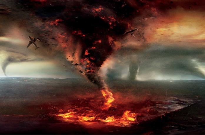 Una scena del film catastrofico Into the Storm