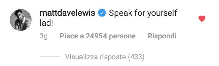 Matthew Lewis implacabile su Instagram