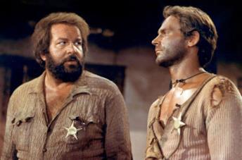 Bud Spencer e Terence Hill in una scena del film Lo chiamavano Trinità...