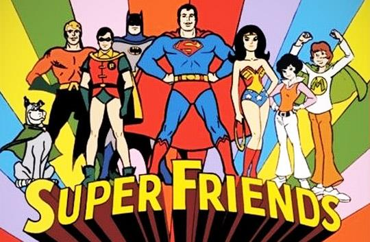 Scena della sigla del cartoon Super Friends
