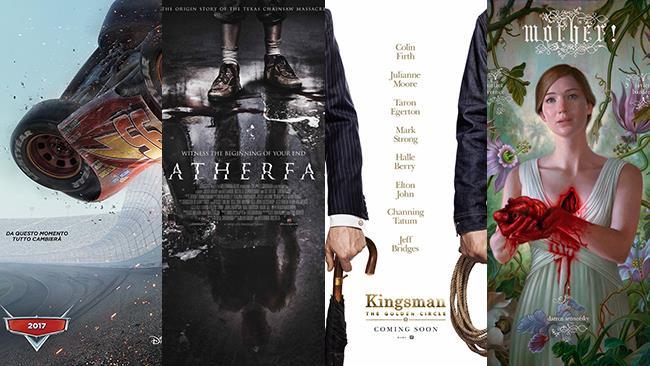 I poster dei film Cars 3, Leatherface, Kingsman - Il Cerchio d'Oro, Madre!