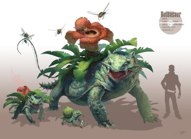 Bulbasaur e le sue evoluzioni realistiche disegnate da RJ Palmer