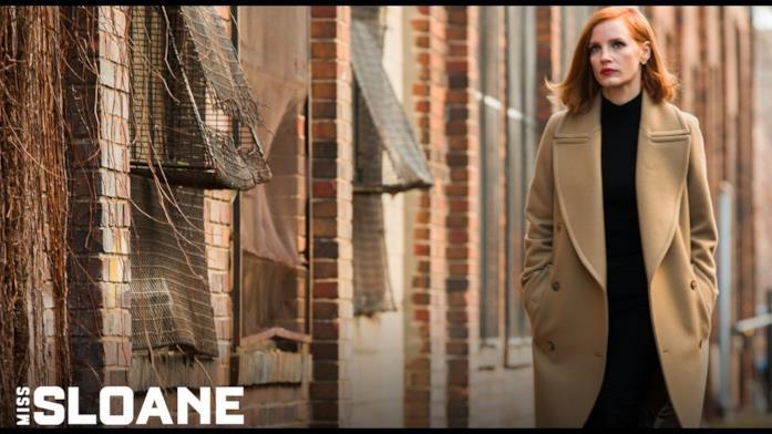 Jessica Chastain sul set di Miss Sloane - Giochi di potere