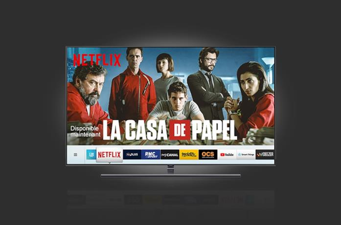Immagine stampa di una Smart TV Samsung compatibile con Netflix