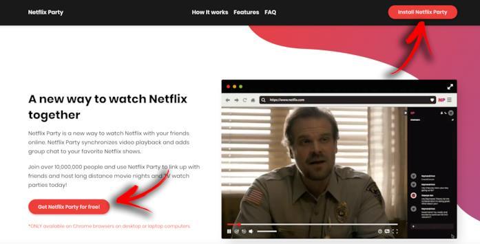 La Home del sito di Netflix Party